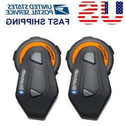 2x BT Motorcycle Helmet Bluetooth Intercom Headset Communica