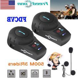 2X Freedconn Motorcycle Intercom Bluetooth Headset Helmet In
