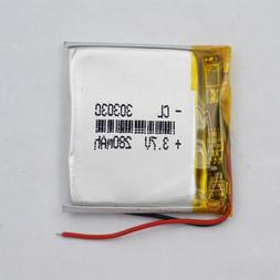 3.7v 280 mah 303030 Polymer Li battery pack for bluetooth he
