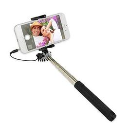 Ultra Compact WIRED Selfie Stick Monopod Built-in Remote Shu