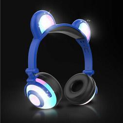 Blue Kids Bear Ear Bluetooth Headphones Audio Wireless LED M