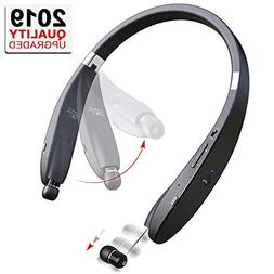 Bluetooth Headphones Retractable Earbuds V 4.1  Neckband Fol