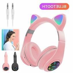 Bluetooth Wireless Cat Rabbit Ear Headsets LED w/ Mic Headph