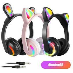 Cat Ear Bluetooth Headphones Audio Wireless LED Stereo Heads