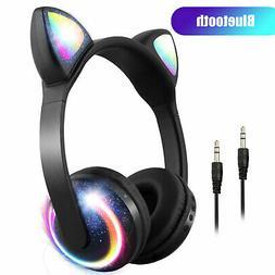 Cat Ear Wireless Bluetooth Headphones 7 Colors LED Headsets