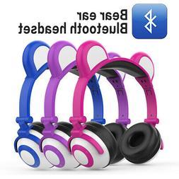 Cute Kids Bear Ear Bluetooth Headphones Audio Wireless LED M