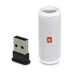 JBL Flip 4 Waterproof Portable Bluetooth Speaker, White, Bun
