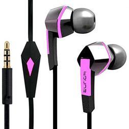 Headset Hands-free Earphones Pink Earbuds Mic Dual Headphone