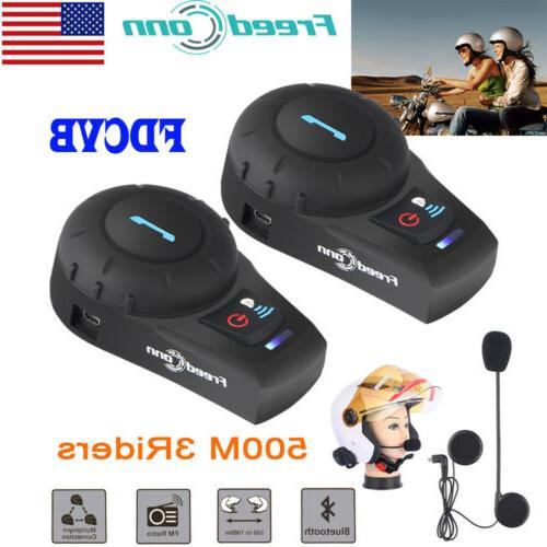 2x Freedconn FDCVB BT Motorcycle Helmet Bluetooth Headset In