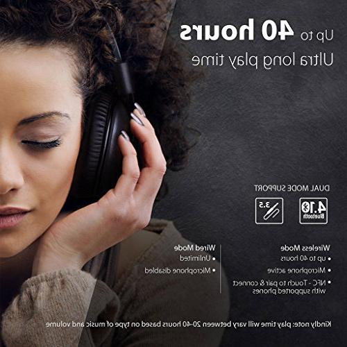 Avantree hr Bluetooth Over-the-Ear Headphones Headset APTX LOW LATENCY Audio for TV Computer Phone, Wired mode Pro