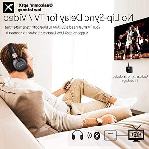 Avantree 40 Bluetooth 4.1 Headphones Headset Mic, APTX LOW LATENCY Audio TV Computer Phone, Wired Pro