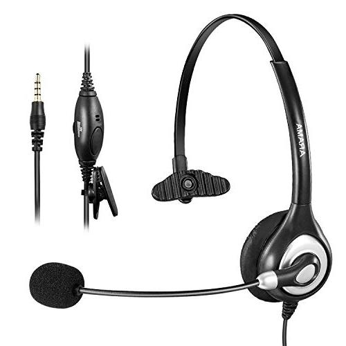 Arama Mono Cell Phone Headset with Noise Canceling Boom Mic