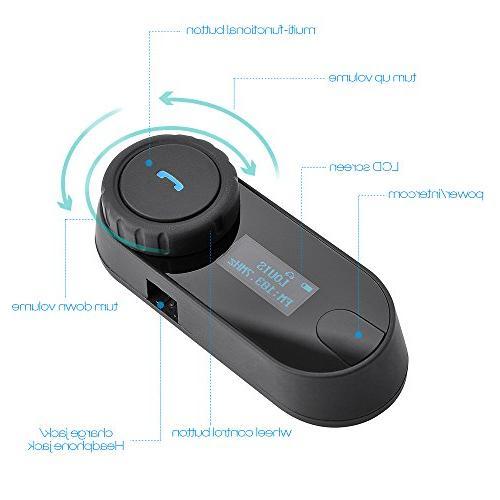 Motorcycle Bluetooth Headset Intercom for Motorbike Skiing