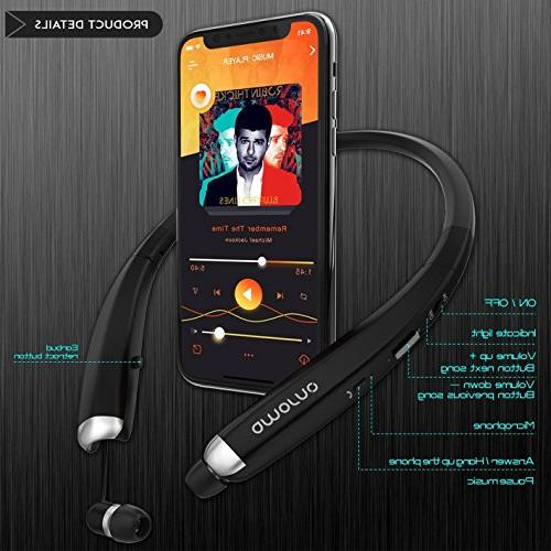Bluetooth Headphones, Wireless Retractable Earbuds, Sports Noise Stereo