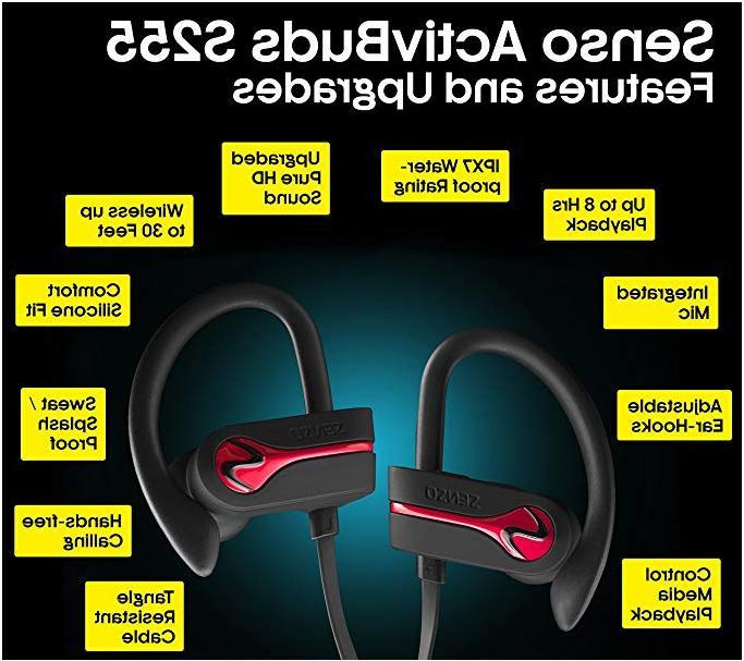 SENSO Bluetooth Headphones, Wireless Sports Mic IPX7 Waterproo