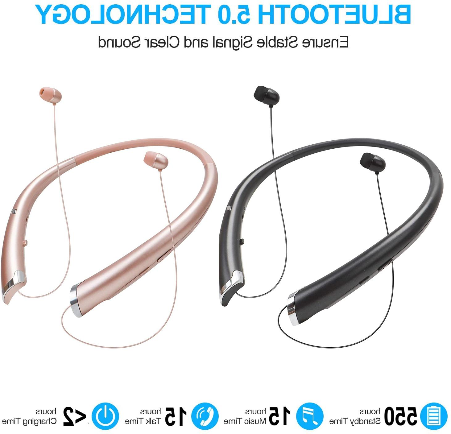 bluetooth headphones retractable earbuds wireless neckband h