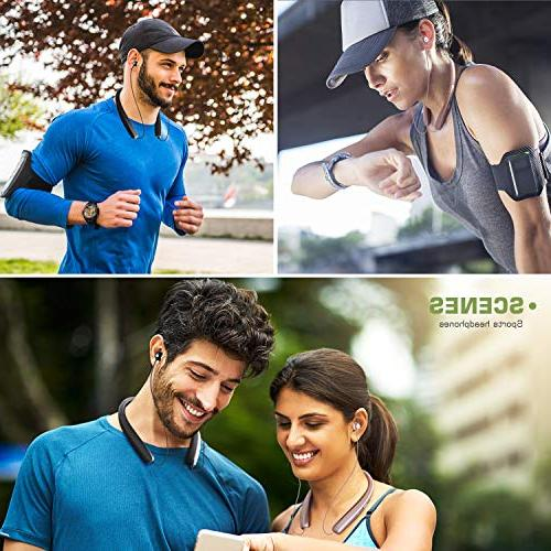 Bluetooth Bluetooth Neckband Foldable, Retractable Earbuds, Sport Mic Noise Reduction HD Stereo
