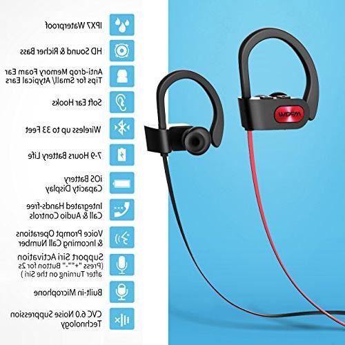 Mpow Bluetooth Waterproof Sport, HiFi Stereo in-Ear Case, Playback Noise Headsets