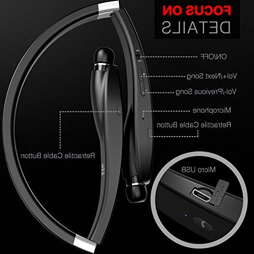 Bluetooth Headphones Wireless Neckband Earphones with Mic, Play for Android Cellphone