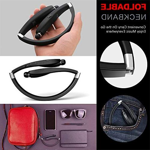 Bluetooth Wireless Headset Sweatproof Foldable Earphones with Earbud and Play Time for Android Tablets