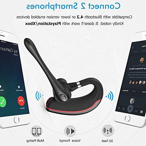Bluetooth Headset, HandsFree Earpiece for Business/Office/Driving