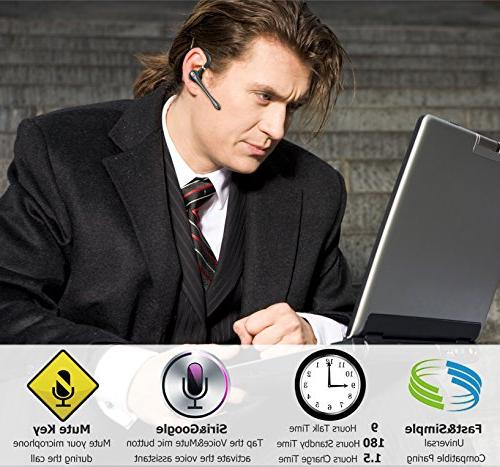 Bluetooth Headset, Wireless Earpiece V4.1 for Business/Office/Driving