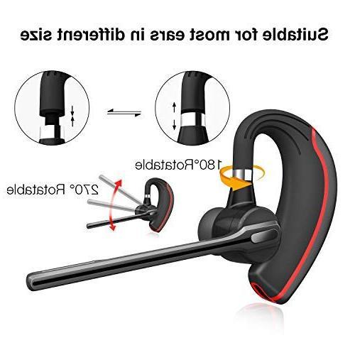 Bluetooth HONSHOOP 5.0 Noise Earpiece in Ear Wireless Headphones Mic BlackRed