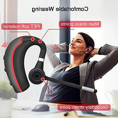 Bluetooth Bluetooth 5.0 Noise Reduction Earpiece Headphones Mic Business/Workout/Driving BlackRed