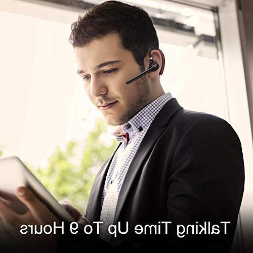 Bluetooth Headset HONSHOOP 5.0 Noise Reduction Earpiece Headphones Earphones Business/Workout/Driving BlackRed