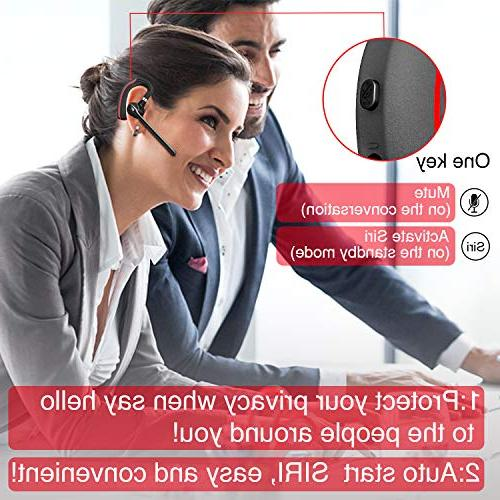 Bluetooth 5.0 Noise Reduction Earpiece Ear Headphones Mic BlackRed