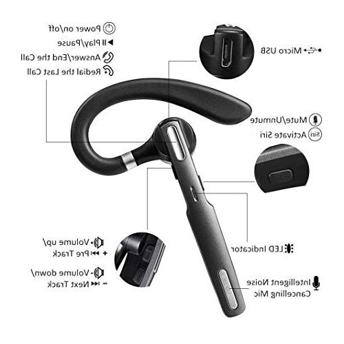 Bluetooth Wireless Earpiece Noise for Driving/Business/Office, Compatible with iPhone and