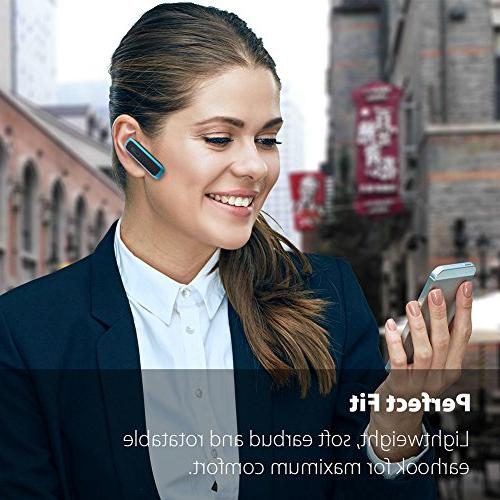 Bluetooth Headset, Bluetooth Earpiece w/ 18 Playtime Mic,Ultralight Calls iPhone Tablet Android Phone
