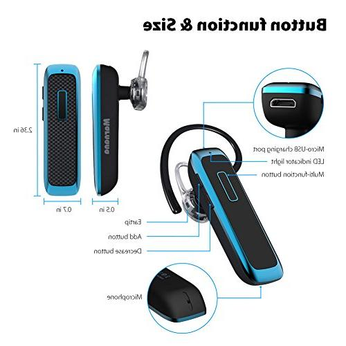 Bluetooth Wireless Earpiece w/ Playtime and Mic,Ultralight Earbud Headphone Hands-Free Calls for iPhone Tablet Android Phone