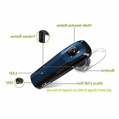 Bluetooth Headset Wireless Earpiece W/ Cancelling Mic & Prompt