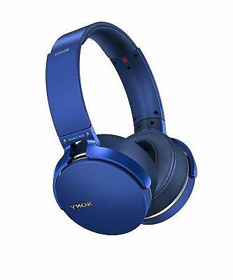 bluetooth wireless extra bass headphones blue certified