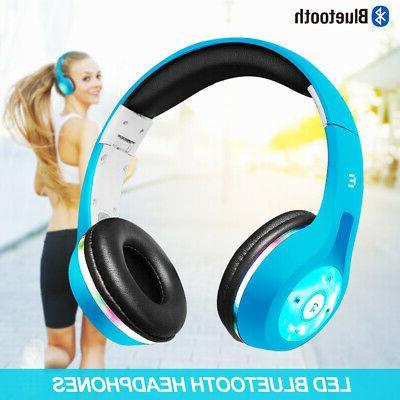 Bluetooth Headphones Stereo Headsets Light UP Xmas