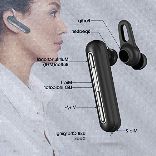Mpow EM10 Headset 16-Hrs Playtime Noise Bluetooth Earbud Headset for Cell Phone/Tablet/PC/iOS/Android