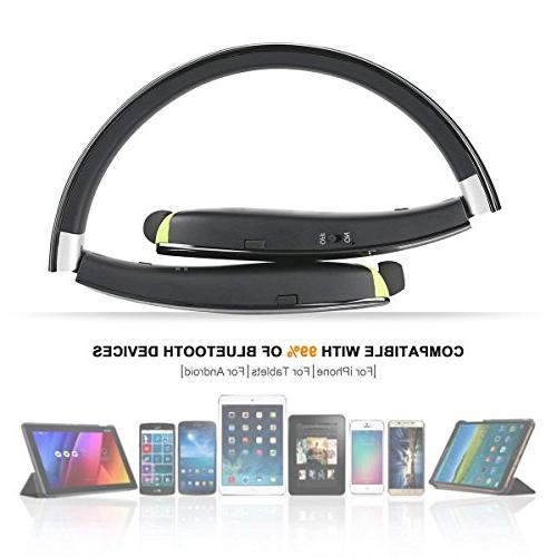 Foldable Headphones Earbuds,Bluetooth Sweat with Carry Case Built