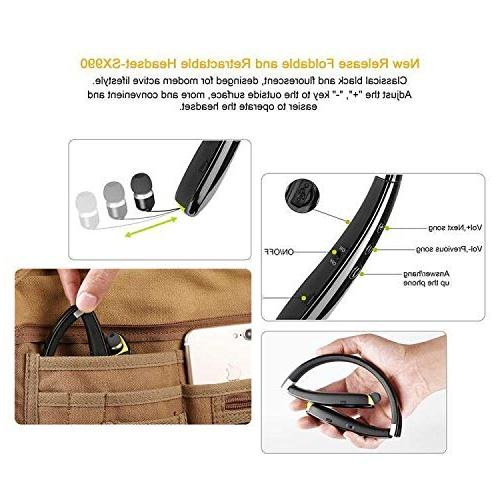 Foldable Headset,Wireless Bluetooth Headphones with Retractable Sweat Proof Sport Headphones with Case in Mic