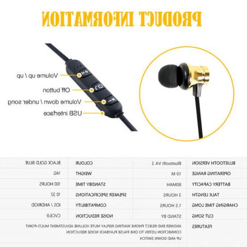 Magnetic Bluetooth Stereo Earphone Earbuds