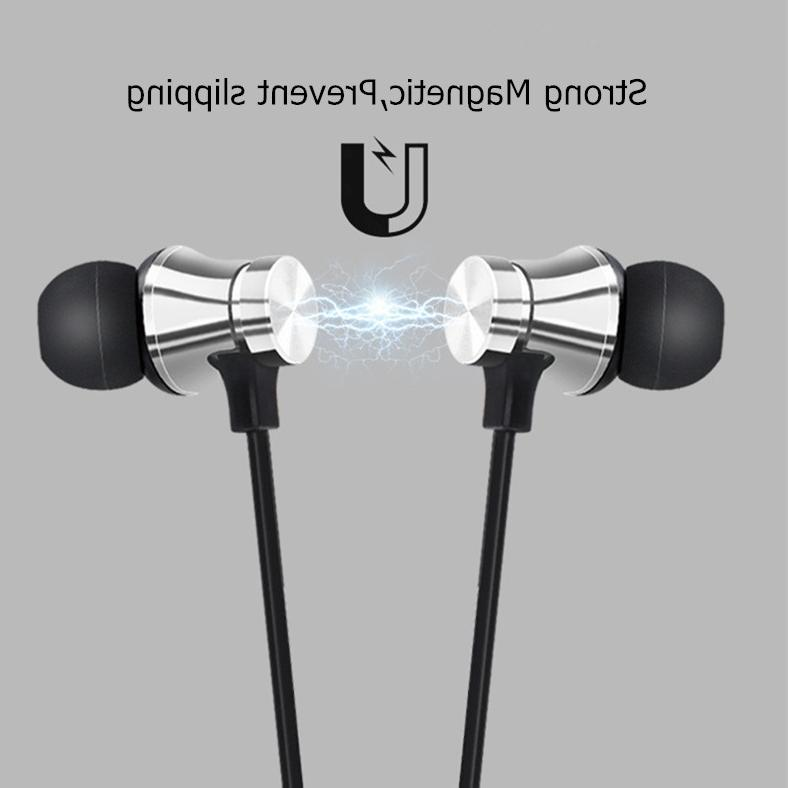 Magnetic Stereo <font><b>Sports</b></font> Waterproof <font><b>Earbuds</b></font> <font><b>Wireless</b></font> in-ear Headset Mic For IPhone Samsung