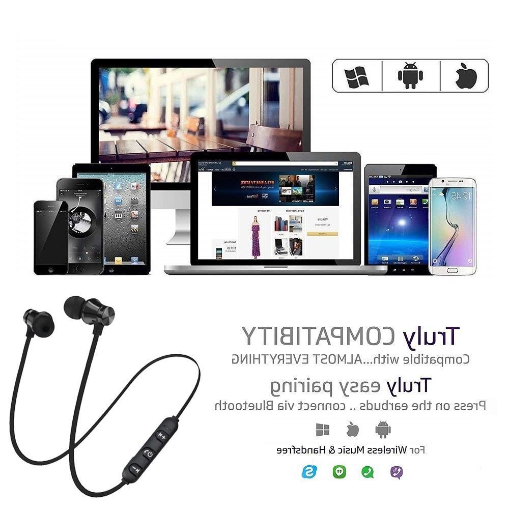 Magnetic Stereo <font><b>Sports</b></font> Waterproof <font><b>Earbuds</b></font> <font><b>Wireless</b></font> in-ear Mic IPhone 7 Samsung