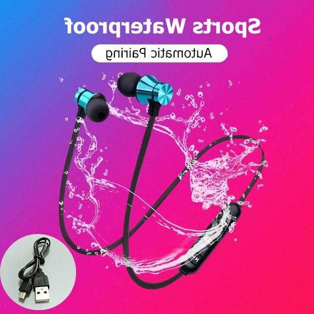 Magnetic Bluetooth Stereo <font><b>Sports</b></font> <font><b>Earbuds</b></font> <font><b>Wireless</b></font> Headset Mic IPhone 7