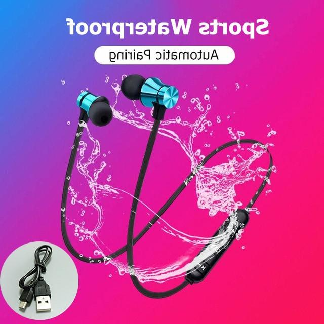 Magnetic Bluetooth Stereo <font><b>Sports</b></font> <font><b>Earbuds</b></font> <font><b>Wireless</b></font> Headset Mic IPhone 7