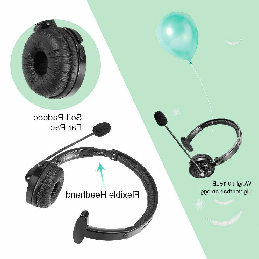Noise Cancelling Bluetooth Headset Over the Head Boom w/Mic