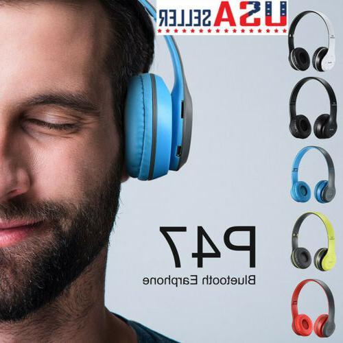 p47 wireless bluetooth foldable headphones stereo headset