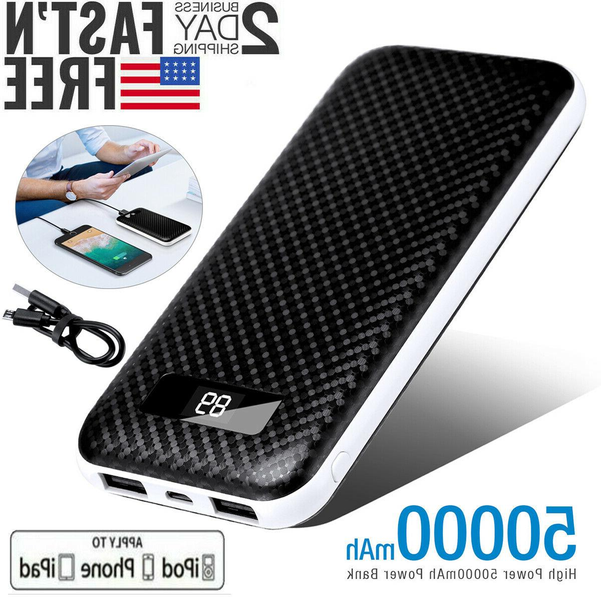 High Power 50000mAh Power Bank 2 USB Portable External Batte