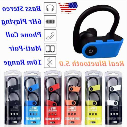 tws bluetooth wireless stereo earphone earbuds sport