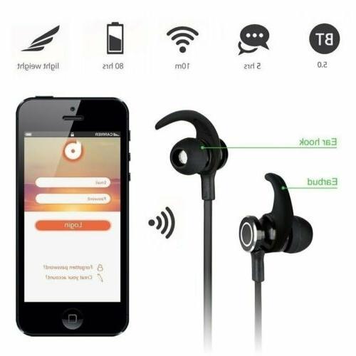 Wireless 5.0 Gym Earphones Headset MIC