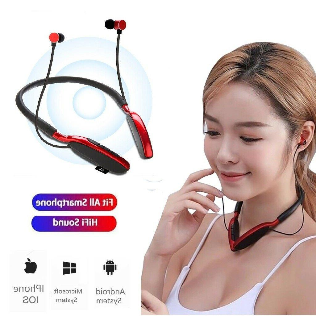 Bluetooth Neckband Headset Wireless Earphone Headphone Mic F